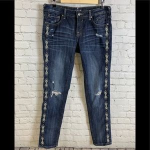 Vigoss Distressed Embroidered Skinny Jeans Sz 29